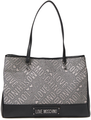 Love Moschino Leather-paneled Metallic Jacquard Tote