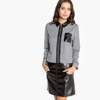 La Redoute Collections Dual Fabric Shirt with Zip Front