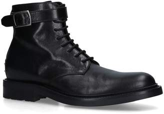 Saint Laurent Leather Buckle Army Boots