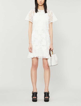 Reiss Darmara floral lace-embroidered woven mini dress