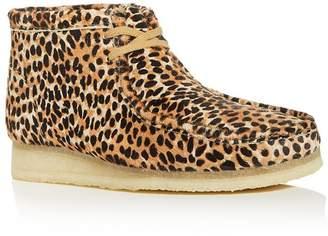 Clarks Men's Wallabee Leopard-Print Calf Hair Chukka Boots