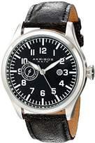 Akribos XXIV Men's AK785SSB Swiss Quartz Movement Watch with Black Dial and Leather Strap