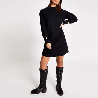 River Island Womens Black long sleeve high neck sweatshirt dress