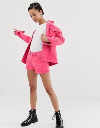 Dr. Denim Jenn high rise short with roll hem-Pink
