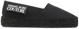 Versace Round Toe Slogan-Print Espadrilles