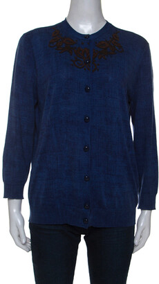 Louis Vuitton Blue Cotton Printed Cardigan M