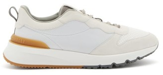 Brunello Cucinelli Suede, Leather And Mesh Trainers - White