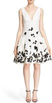 Carolina Herrera Women's Floral Applique Fit & Flare Silk Dress