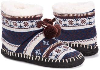 Muk Luks Women's Slippers Blue - Blue Fair Isle Slipper Boot - Women