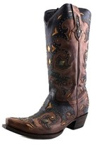 Lucchese Studded Scarlette Women Pointed Toe Leather Brown Western Boot.