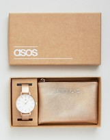 Asos Party Fund Metallic Purse and Watch Set