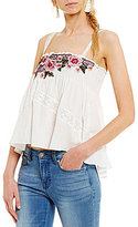 Chelsea & Violet Floral-Embroidered Lace-Inset Smocked Tank
