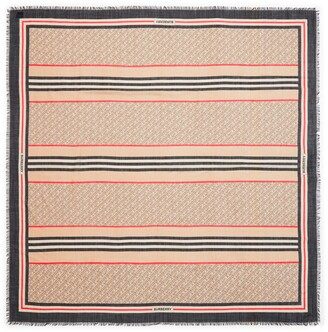 Burberry Large TB Monogram Stripe Wool & Silk Gauze Scarf