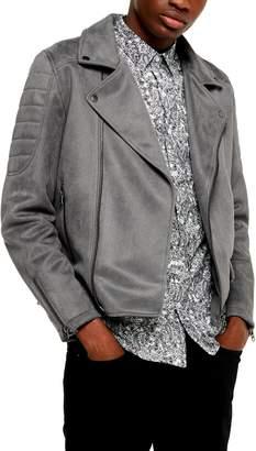 Topman Classic Fit Faux Suede Biker Jacket