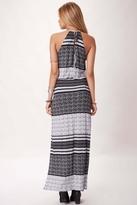 Blue Life Halter 2-Slit Dress in Aztec Stripe