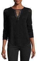 Generation Love Vivi Lace-Up Sweater, Black