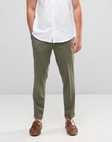 Asos Skinny Cropped Smart Trousers In Khaki