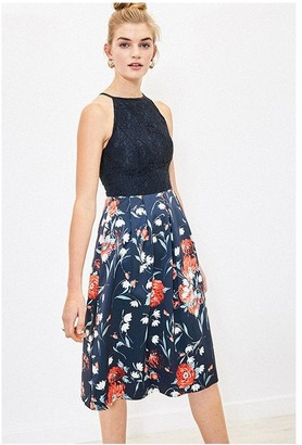 Oasis CEICY FLORAL LACE TOP MIDI IN NAVY