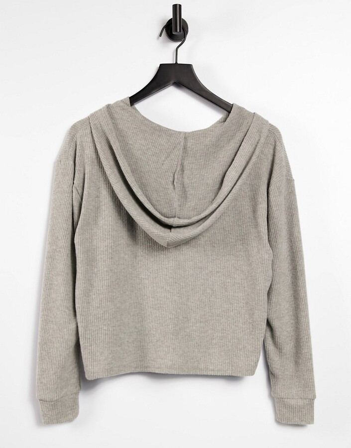 Thumbnail for your product : New Look ribbed loungewear hoodie co-ord in grey