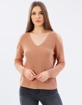 Whistles Open V-Neck Cold Shoulder Sweater