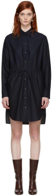 Stella McCartney Navy Gathered Waist Shirt Dress