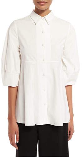 Co Nip-Waist Half-Sleeve Blouse, White