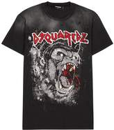 Dsquared2 Black Printed Distressed Cotton T-shirt