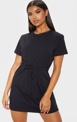 No Name Noname Black Drawstring Tie Waist T Shirt Dress