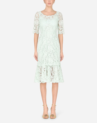 Dolce & Gabbana Lace Calf-Length Dress With Ruffle Detailing