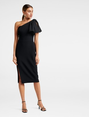 Forever New Bessy One-Shoulder Bow Dress - Black - 10