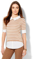 New York & Co. Crewneck Twofer Sweater - Stripe