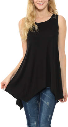 Shamaim Women's Tunics BLACK - Black Sleeveless Handkerchief Tunic - Women