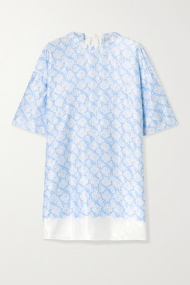 By Malene Birger Sika Floral-print Satin Tunic - Blue