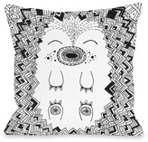 Happy Hog Black Decorative Pillow by Susan Claire