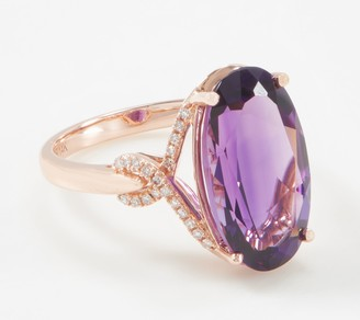 Oval Cut Amethyst & Diamond Ring, 6.50 cttw, 14K Gold