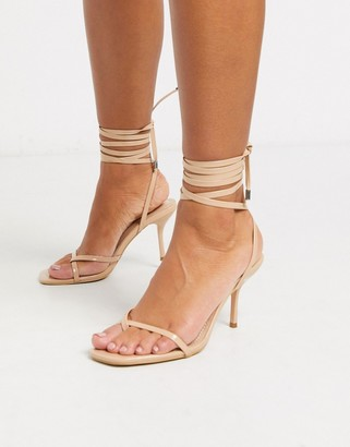 Kimberly Simmi London strappy ankle tie sandals in beige