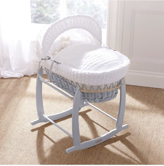 Clair De Lune Marshmallow Wicker Moses Basket - Grey