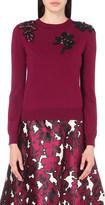 Oscar de la Renta Jewel-embellished virgin wool jumper