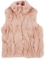 Adrienne Landau Textured Rabbit Fur Vest-PINK