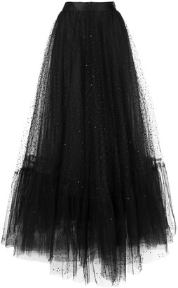 Marchesa Embroidered Flared Skirt