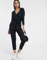 Asos DESIGN v neck lounge wear jumpsuit with tie waist with long sleeve