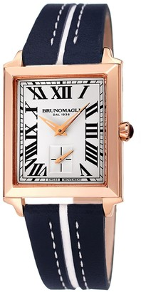 Bruno Magli Valentina 1064 Rectangular Rose-Gold Tone Stainless Steel & Leather-Strap Watch