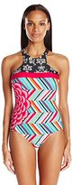 Coco Rave Women's Summer Patch Duff High Neck One Piece Swimsuit