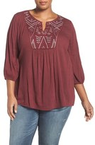 Plus Size Women's Caslon Embroidered Peasant Top