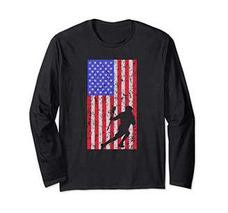 LaCrosse Player American Flag Gift Vintage Design Lax Player Long Sleeve T-Shirt