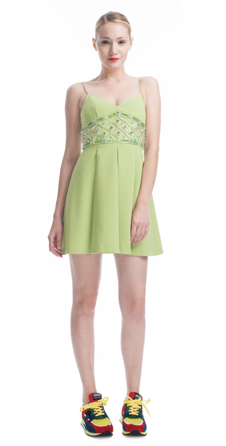 Moschino Cheap & Chic Embroidered Crepe Tank Dress
