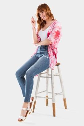 francesca's Jaxon High Waist Embroidered Jeans - Lite