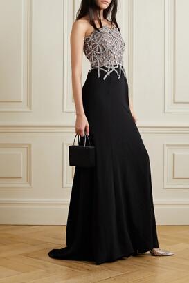 Oscar de la Renta - Strapless Embellished Tulle And Silk-blend Crepe Gown - Black