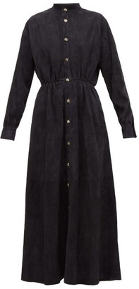 Holiday Boileau Texan Button-front Suede Shirtdress - Navy