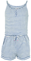 Fat Face Girls' Striped Playsuit, Navy